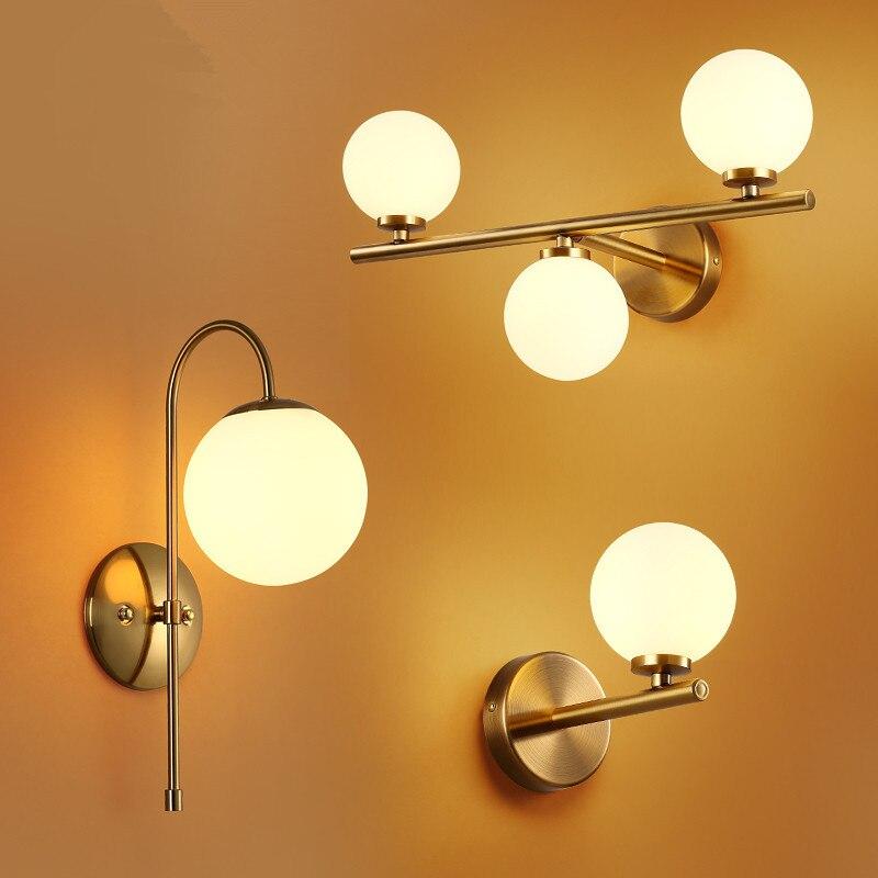 Современный скандинавский стеклянный мета черный/золотой шар Ретро винтажный настенный светильник E27 Лофт для кафе спальни фойе