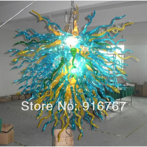 C30-Free Shipping Amazing Blown Glass Leaf Chandelier