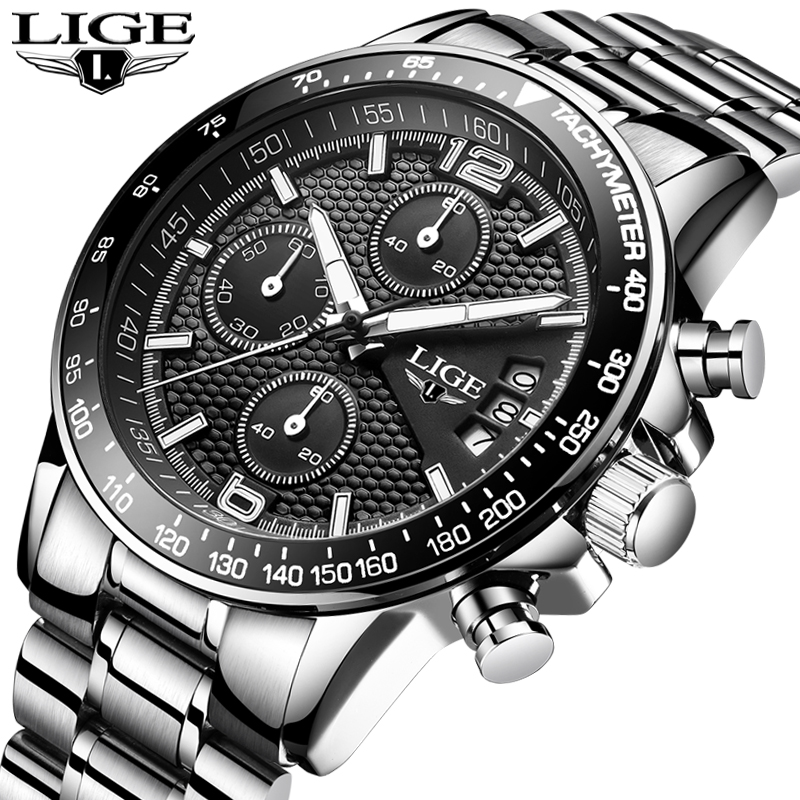 LIGE New Mens Watches Top Brand Luxury Stopwatch Sport Waterproof Quartz Watch Man Fashion Business Clock Relogio Masculino+Box