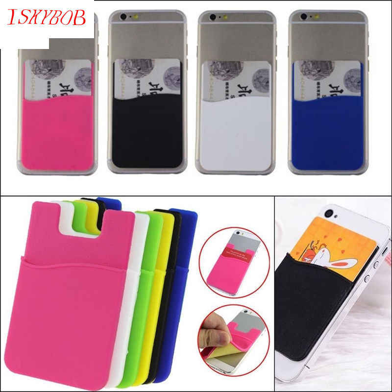 Hot Sale Fashion Adhesive Sticker Back Cover Card Holder Case Pouch For Cell Phone colorful card holder 1PCS