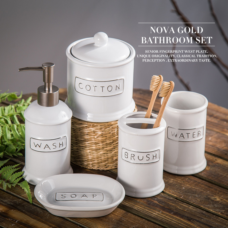 Ceramic bathroom set five piece of bathroom item fashion for Fashion bathroom set