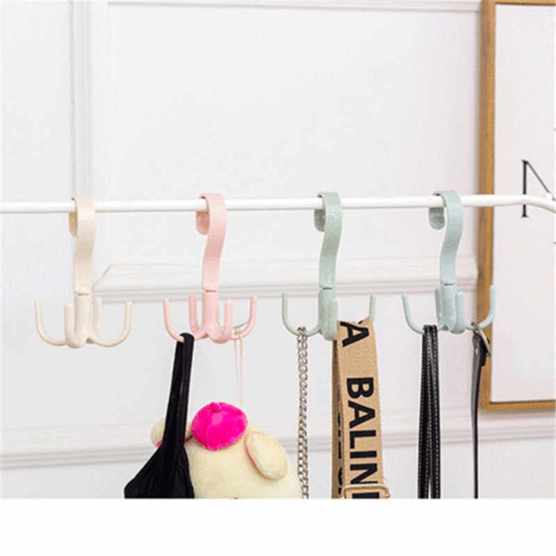 2019 Brand New Style 4 Hooks Save closet space Hanger Clasp Rack Wardrobe Coat Clothes Rack Holder