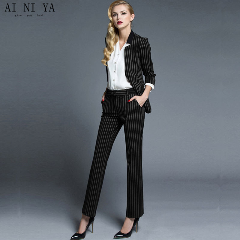 Women Pant Suits striped suit fashionable western style of professional jacket + pants formal two-piece OL work suit handsome