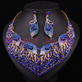 Sistemas de La Joyería nupcial de La Boda Pendiente Del Collar Para la Fiesta de Las Novias Accesorios Hoja Dubai Rhinestone Dama de honor de la Decoración de Las Mujeres