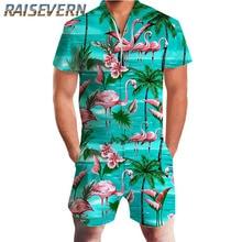 47febfa10cd3 RAISEVERN Harajuku Rompers For Men Striped Jumpsuit Flamingo Pineapple  Cartoon Harem Cargo Overalls Summer HipHop Casual