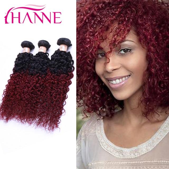 Hanne 1b Burgundy Ombre Hair Extensions Brazilian Kinky Curly Hair 4