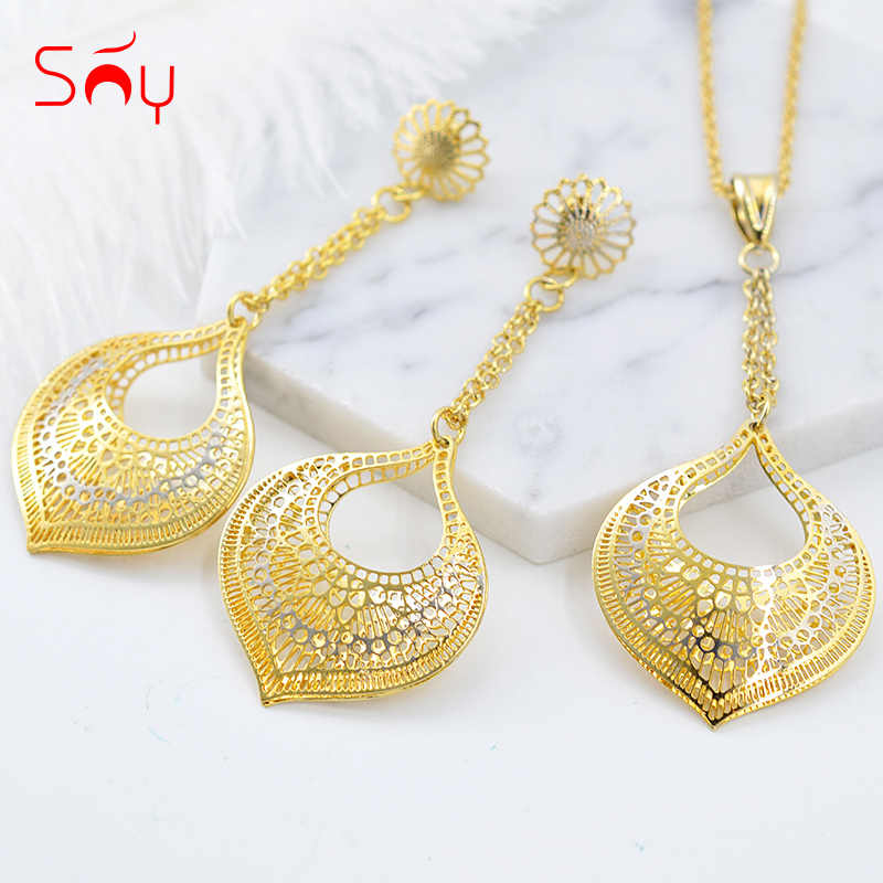 Sunny Jewelry Fashion Jewelry 2019 Earrings Pendant Jewelry Sets For Women Heart Hollow Out Water Drop For Party Wedding Daily