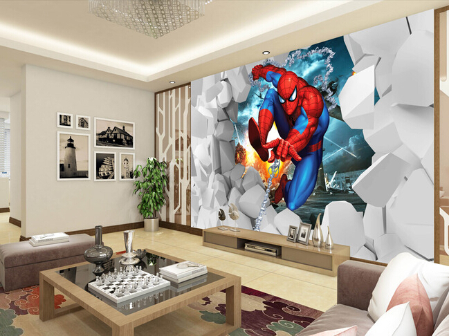 Custom papel DE parede infantil, spiderman cartoon murals for children room bedroom setting wall textile cloth wallpaper custom papel de parede infantil spiderman 3 d mural for bedroom of children room background wall silk cloth wallpaper