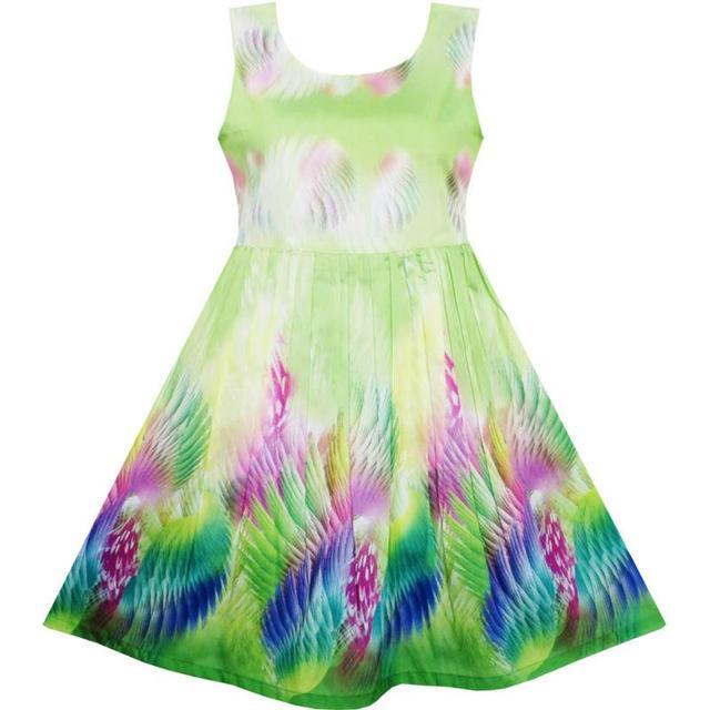 20353ec2dacda Sunny Fashion Robe Fille Ciel Fantaisie Coloré ange Ailes Plume vert ...