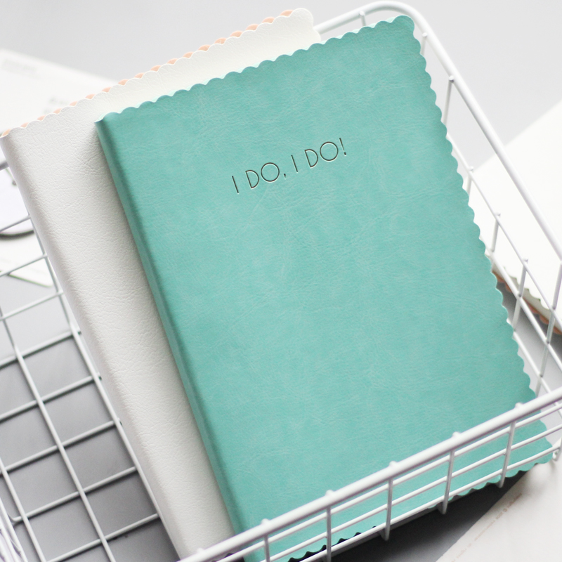 I DO A5 Wave Edge Leather Cover Notebook Gird/Line Notepad 96 Sheets Diary Notebook Book School Office Supplies a6 diary pink notebook simple fabric 128 sheets coffee gray notepad line paper diary book school office supplies