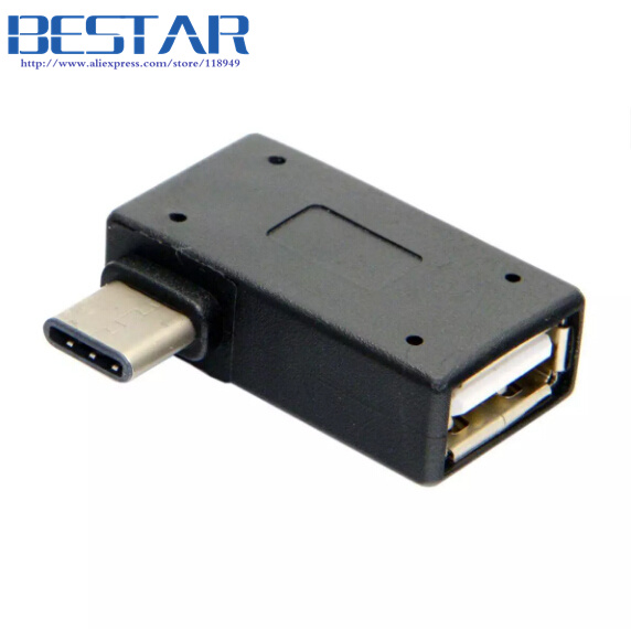 USB-C Type C to USB 2.0 Female OTG Adapter Connector Right & Left Angled 90 Degree for Macbook & Chromebook