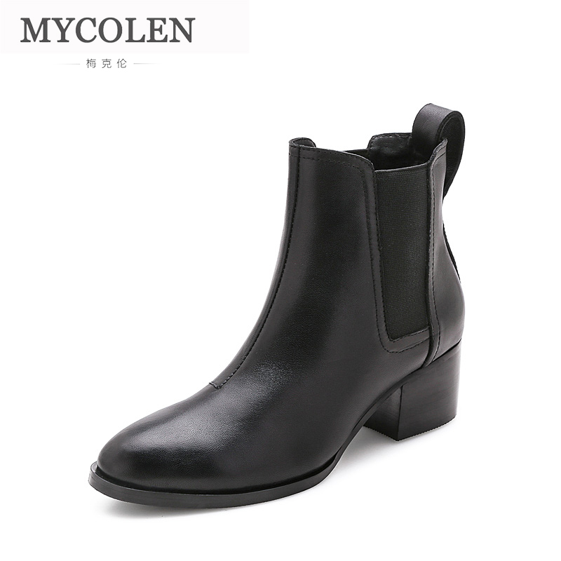 MYCOLEN 2018 Round Toe Pu Leather Chelsea Boots Women Handmade Warm Winter Ankle Boots Ladies High Heel Solid Short Boots female pu leather thick high heel chelsea boots fashion slip on round toe women warm winter ankle boots black brown gray