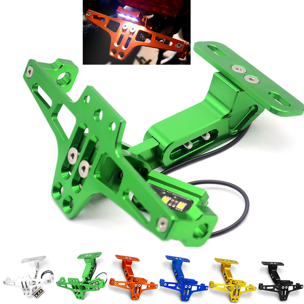 Motorcycle Adjustable Angle License Number Plate Frame Holder Bracket For Kawasaki NINJA 250R Z125 NINJA 300r 300 ZX6R/636 ZX10R