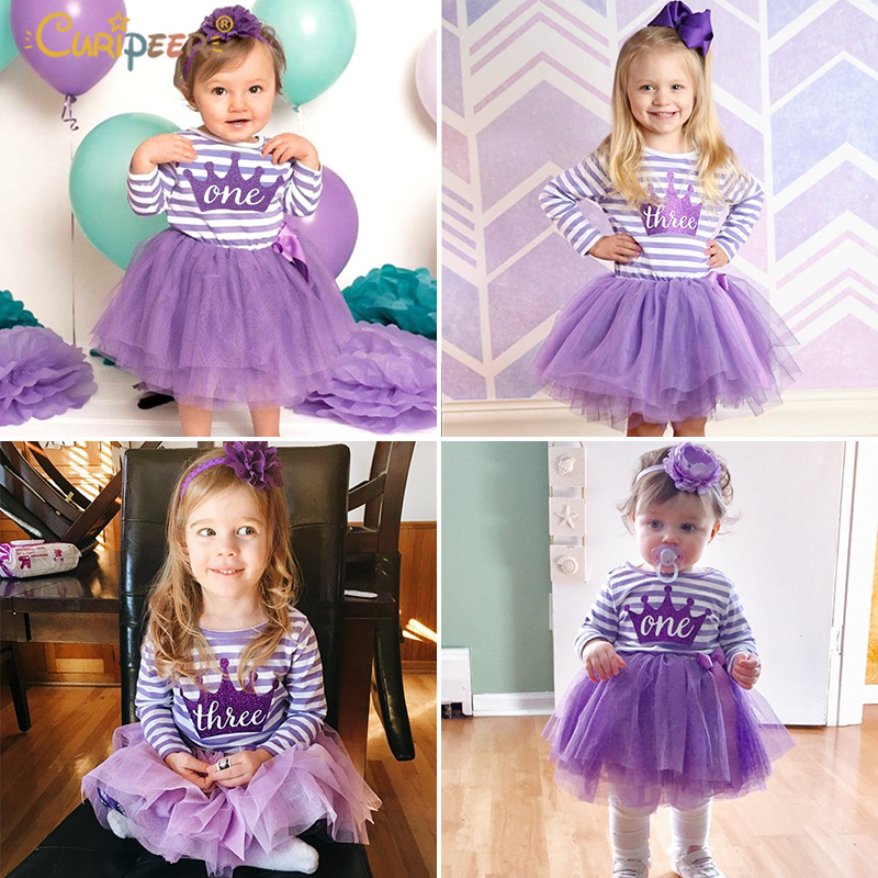Curipeer Child Ladies Costume For One Two Three Years Previous Birthday Celebration Tutu Toddler Woman Princess Costume Lengthy Sleeve Stripe Garments