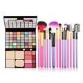 48 Color Makeup Palette + 7PCS Makeup Brush Set Kits Purple/Rose Color For Your Option GUB#