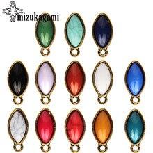 10 teile/los Legierung Gold Metall Bunte Harze Olive Form Ohrring Basis Ohrring Stecker Für DIY Ohrringe Zubehör