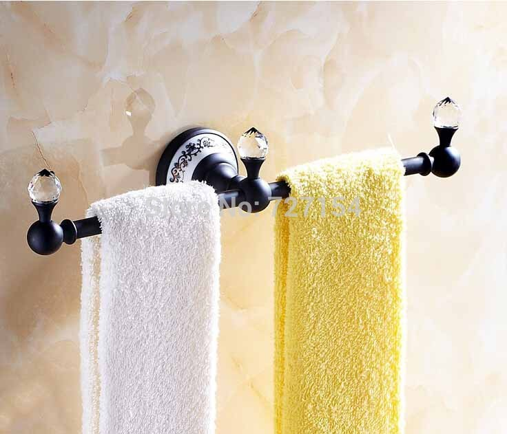 Free Shipping! Wall Mounted Oil Rubbed Bronze Towel Holder Dual Bars Towel Hanger Ceramic Base стоимость