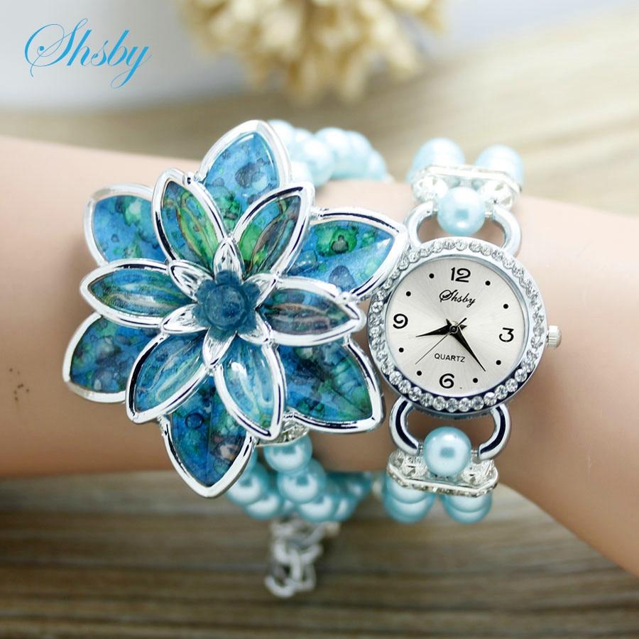 shsby fashion Sievietēm Rhinestone Pulksteņi Sieviešu pērļu siksna Daudzi ziedlapiņas ziedu aproces kvarca rokas pulksteņi sieviešu kleita pulksteņi