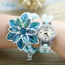 Shsby модные Для женщин со стразами Часы Дамы Перл на многие лепестки цветка браслет кварцевые наручные Часы Для женщин платье Часы