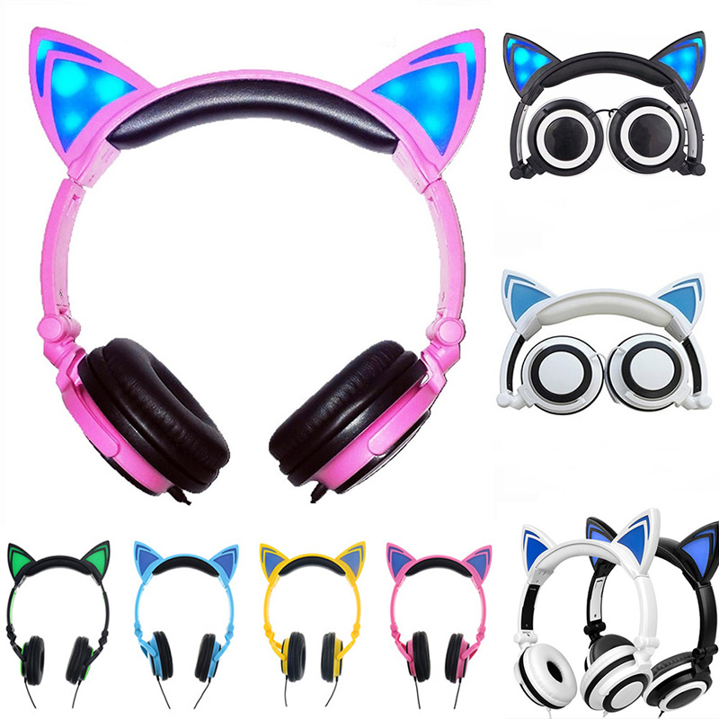Renensin Foldable Flashing Glowing cat ear headphones Gaming Headset Earphone with LED light For PC Laptop Computer Mobile Phone foldable cat ear headphones gaming headset earphone with glowing led light for phone computer best halloween gift for girls kids