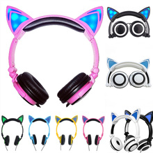 Renensin Foldable Flashing Glowing cat ear headphones Gaming Headset Earphone with LED light For PC Laptop Computer Mobile Phone