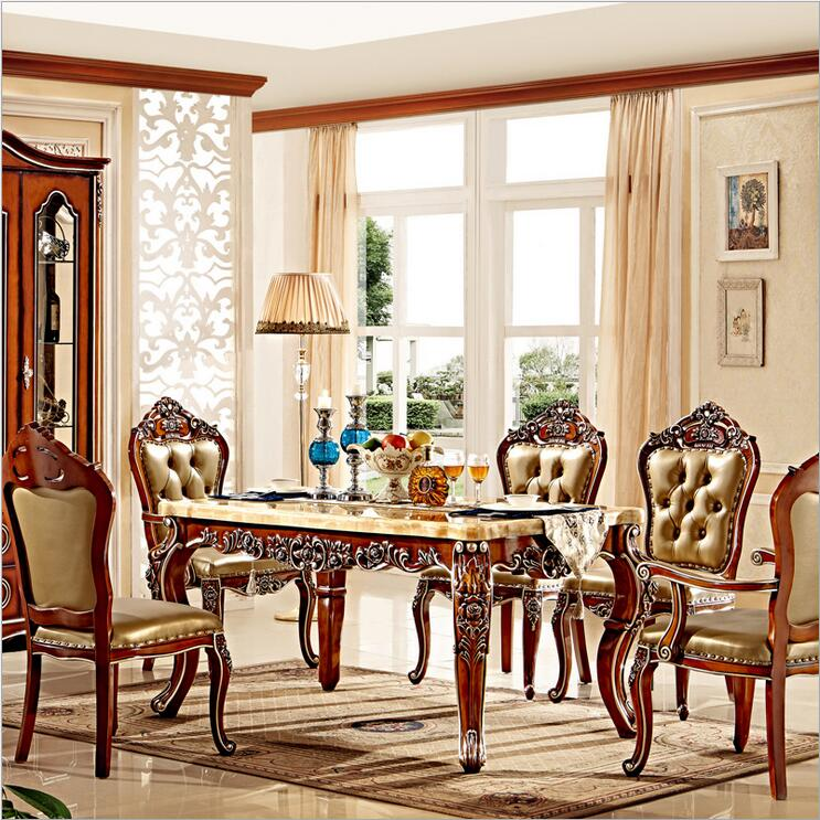 Luxury Dining Room Set: Antique Style Italian Dining Table, 100% Solid Wood Italy