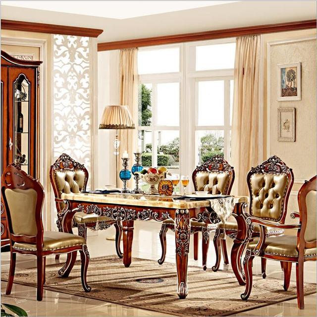 antique style italian dining table 100 solid wood italy style luxury dining table set in. Black Bedroom Furniture Sets. Home Design Ideas