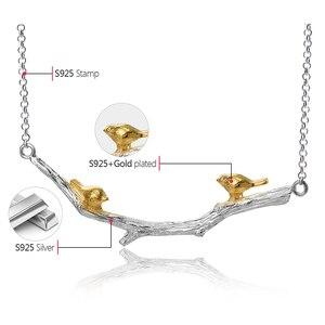 Женское Ожерелье с птичкой Lotus Fun, из серебра 925 пробы, 18 К, золотое украшение ручной работы