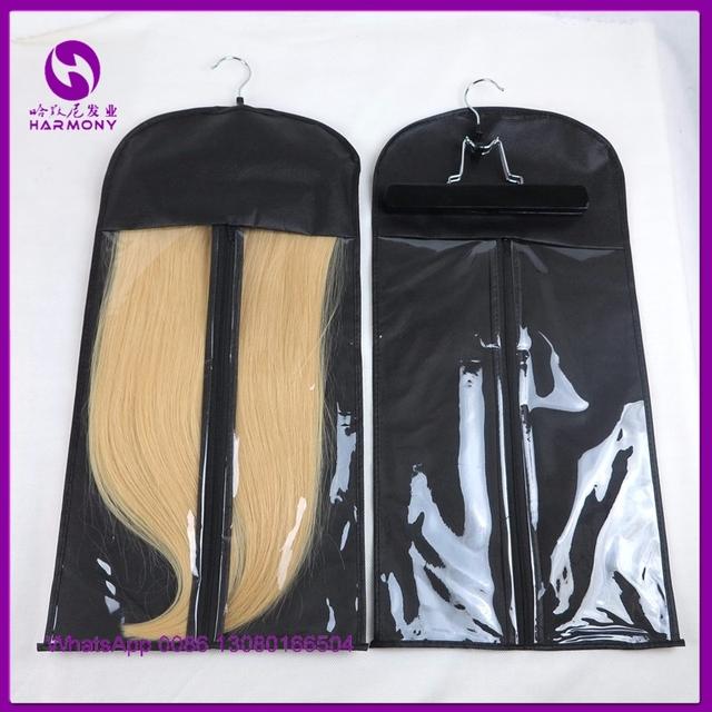 2 conjuntos NAVIO LIVRE Extensões de Cabelo Saco De Armazenamento Terno Transportadora Caso saco de vácuo com Cabide Para Embalagem Hair & Grampo no Cabelo de trama extensões