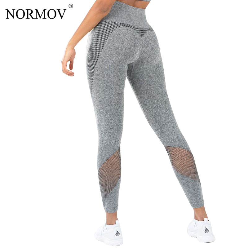 NORMOV   Leggings   Women Solid Color Mesh Fitness   Legging   Push Up Pants Workout Leggins Skinny Jeggings Female fitness   legging