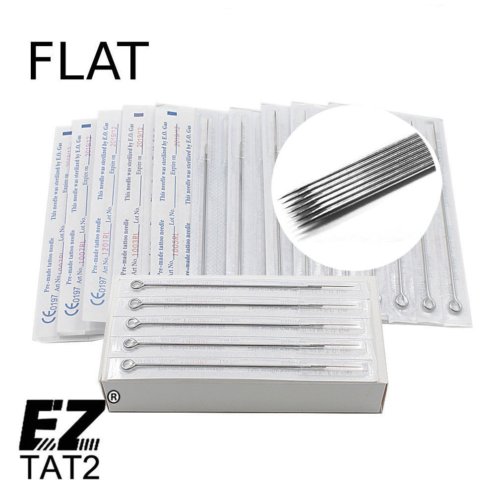 Disposable Sterile Standard Tattoo Needles  Flat Needles For Tattoo Machine Grips 50 Pcs/Box 5/7/9/11/13/15 F