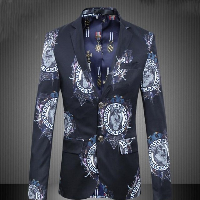 Mens Velvet Jacket Blazers Long Sleeve Butterfly Flower Printed