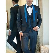 new Men's Suit Blue Suits For Tuxedos Jacket+Pants+Vest Groom Tuxedos Men's Wedding Suits Groomsman Prom Party Suits