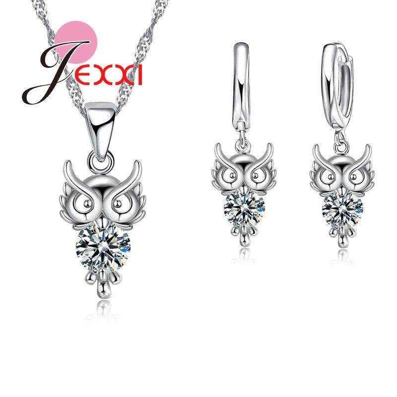 100% Wahr Bijoux 925 Sterling Silber Schmuck Set Klar Kristall Eule Anhänger Drop Halsketten Ohrringe Für Frauen Braut Zubehör