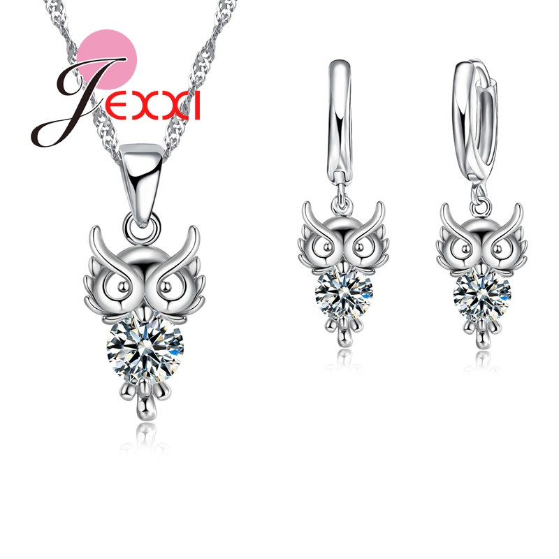 Bijoux 925 Sterling Silver Jewelry Set Clear Crystal Owl