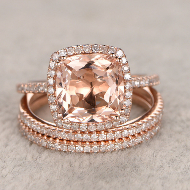 3pc 2.2CT Morganite Engagement Ring Set 14k Rose Gold Wedding Set  WhiteTopaz Side Stones Gemstone