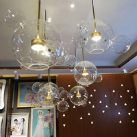 Clear Glass Ball Living Room Chandeliers Art Deco Bubble Lamp Shades Chandelier Modern Indoor Lighting Restaurant