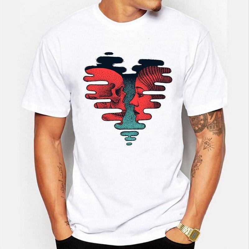c73d5e003c ... Gola Camisas  Mais novo Coração Impresso T-shirt dos homens do crânio e  da menina camisa do  Camiseta Manga ...