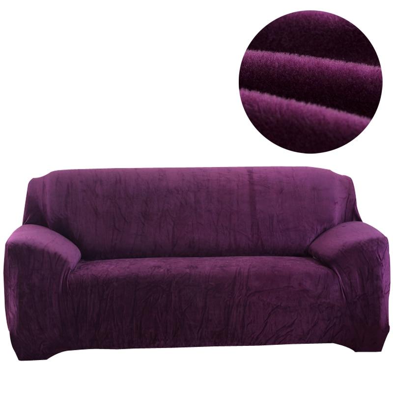Svetanya Flannel Solid Color Sofa Cover Elastic Slipcover for Sectional Sofa Single L Shaped Loveseat Sofa