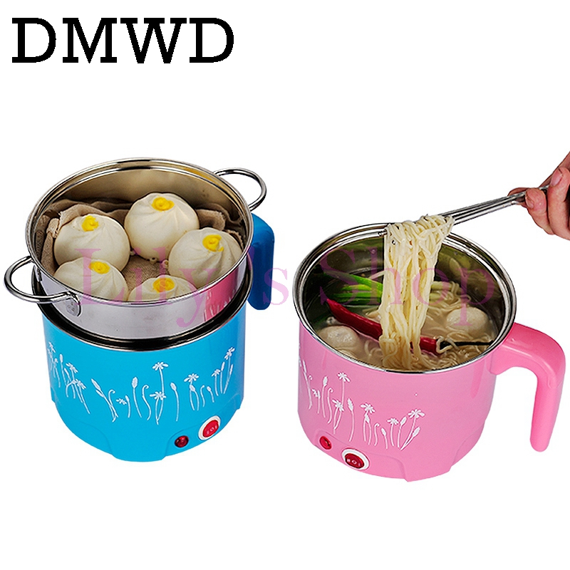 DMWD 1.5L/1.8L MultiCooker Electric Skillet Stainless Steel Rice Cooker Hotpot Noodles Soup Pot Eggs Food Steamer Heating Pan EU
