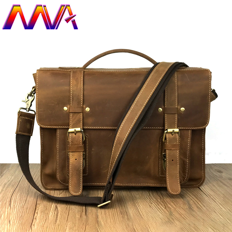 MVA Cheap price men briefcase with 100% genuine leather women briefcase for fashion business men shoulder bag women handbag mva men leather briefcase 100