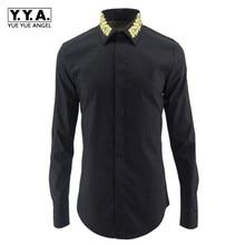 Spring New Mens White Black Business Formal Shirts Long Slee