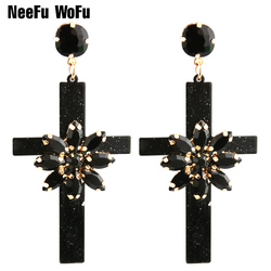 NeeFu WoFu Drop Resin Cross Earrings Brand Crystal Big Earring Large Long  Brinco Ear Accessories Oorbellen Christmas Gift dcb5630192f4