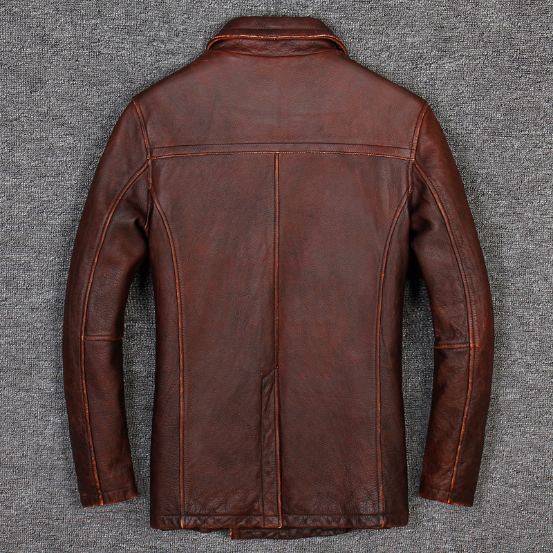 HARLEY DAMSON Vintage Brown Men Long Casual Leather Jacket Double Breasted Plus Size XXXL Genuine Cowhide Winter Russian Coat-in Genuine Leather Coats from Men's Clothing    3