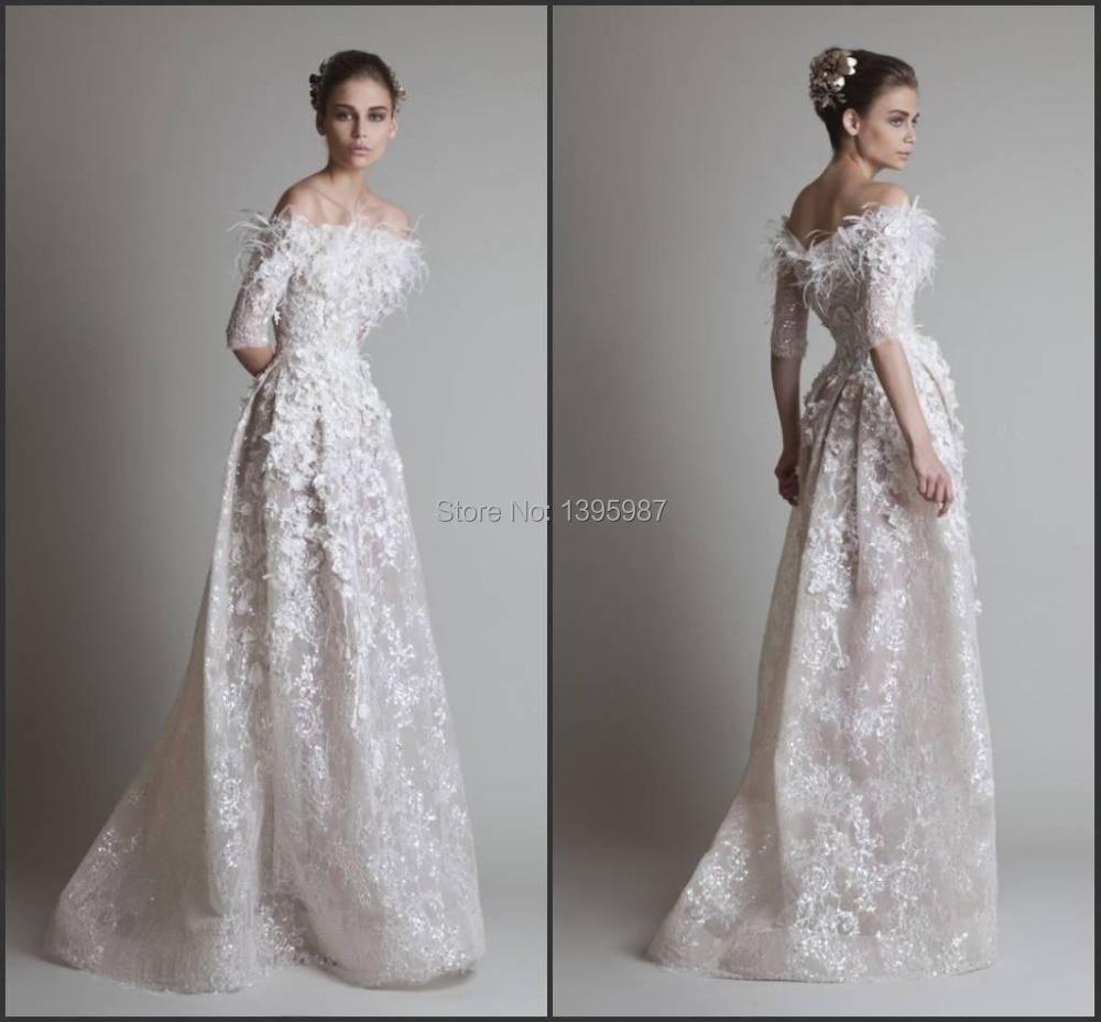 bateau 2017 Wedding Dresses Feather Krihor Jabotian Half Sleeves Bride Gown Elegant Sequins Lace Appliques Floor length MB08