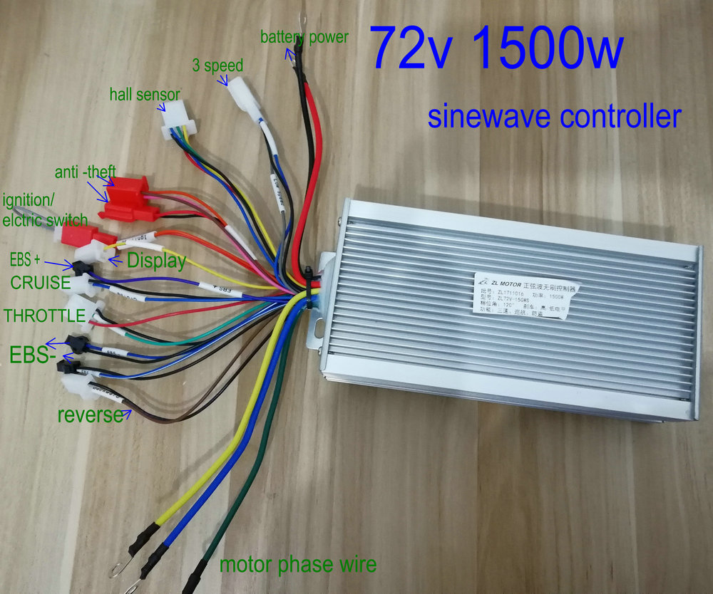 Bldc Sinewave Motor Controller Vector 48v60v72v1000w1200w1500w For Electric Bicycle Mtb Motorcycle Pedal Scooter Conversion Part In 3 Speed Ac Wiring