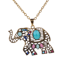 Multiple Choice Classic Antique Vintage Color Gorgeous Colorful Elephant Butterfly Pendant Long Necklace Jewelry for Women Girls