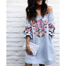 Women Off Shoulder Casual Dress Elegant Ladies Loose Summer Dresses Half Sleeve Slash Neck Floral Printed Beach Dress Vestidos