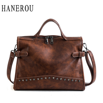 HANEROU Fashion Women Top-handle Bags with Rivets High Quality Leather Female Shoulder Bag Large Vintage Motorcycle Tote Bag Sac Сумка