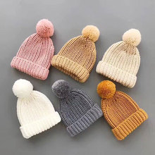 Newborn Cute Baby Boys Girls Winter Keep Warn Hat Kids Baby Hats Knitted Wool Hemming Hat Fit for 0-36 Months Baby